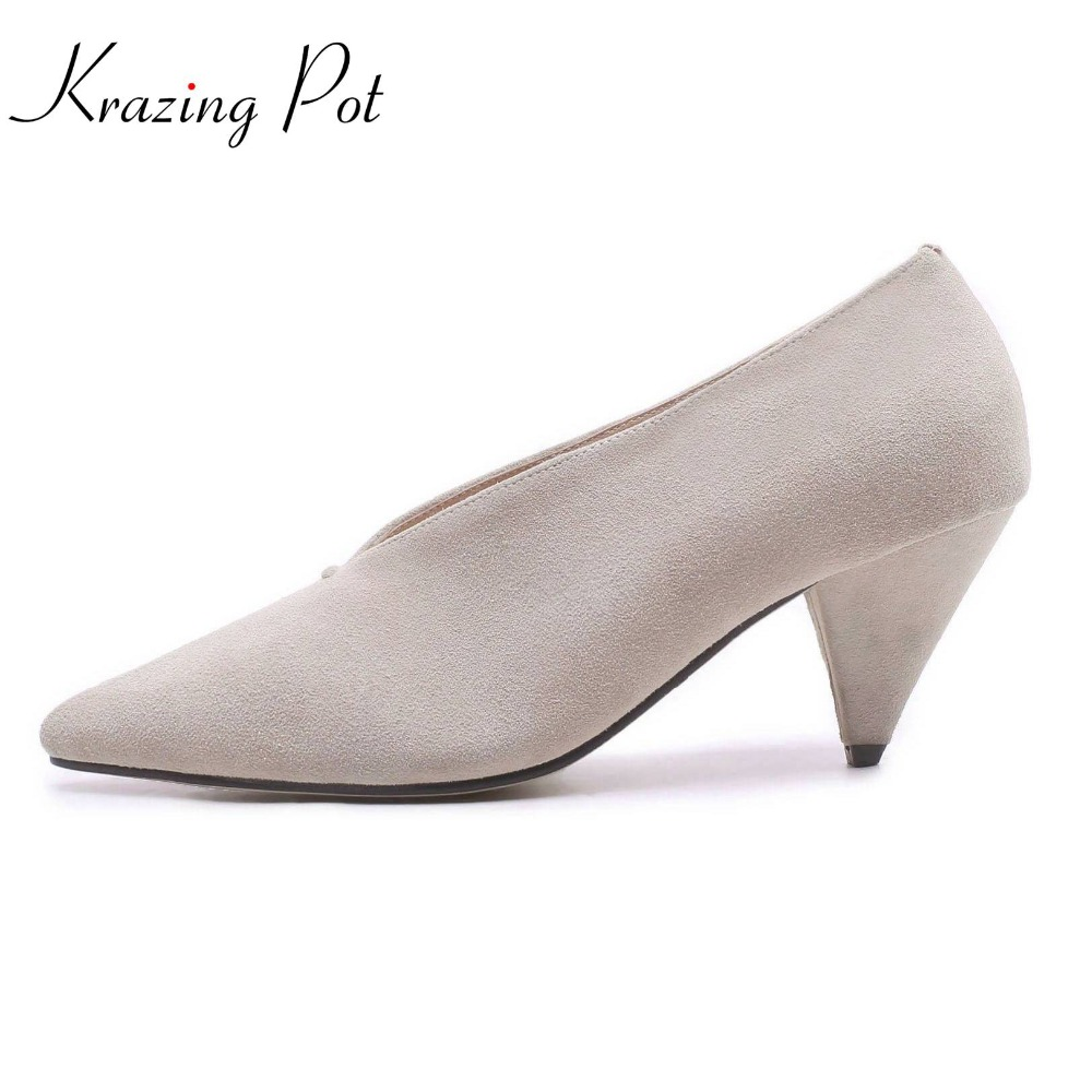 Krazing pot 2018 sheep suede slip on shoes high heels women pumps solid office lady classic dress style fashion shoes women L9f2 krazing pot fashion brand shoes genuine leather slip on pointed toe concise lazy style strange high heels women cozy pumps l73