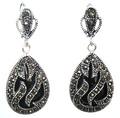 """11/2"""" late trend 925 Silver & Marcasite inlay black agate Waterdrop Earrings 5.29"""