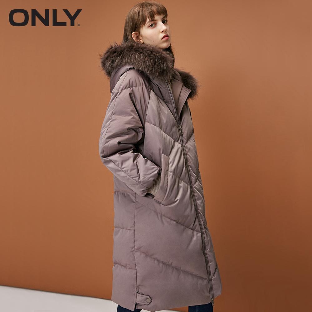 ONLY women's hiver nouveau double tête zipper long doudoune détachable col en fourrure manches Raglan | 118312561