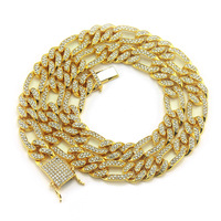 1.2 Width Alloy With AAA Iced Out Rhinestones Necklace Gold/Silver Heavy Miami Cuban Link Chain Hiphop Fashion Jewelry For Men