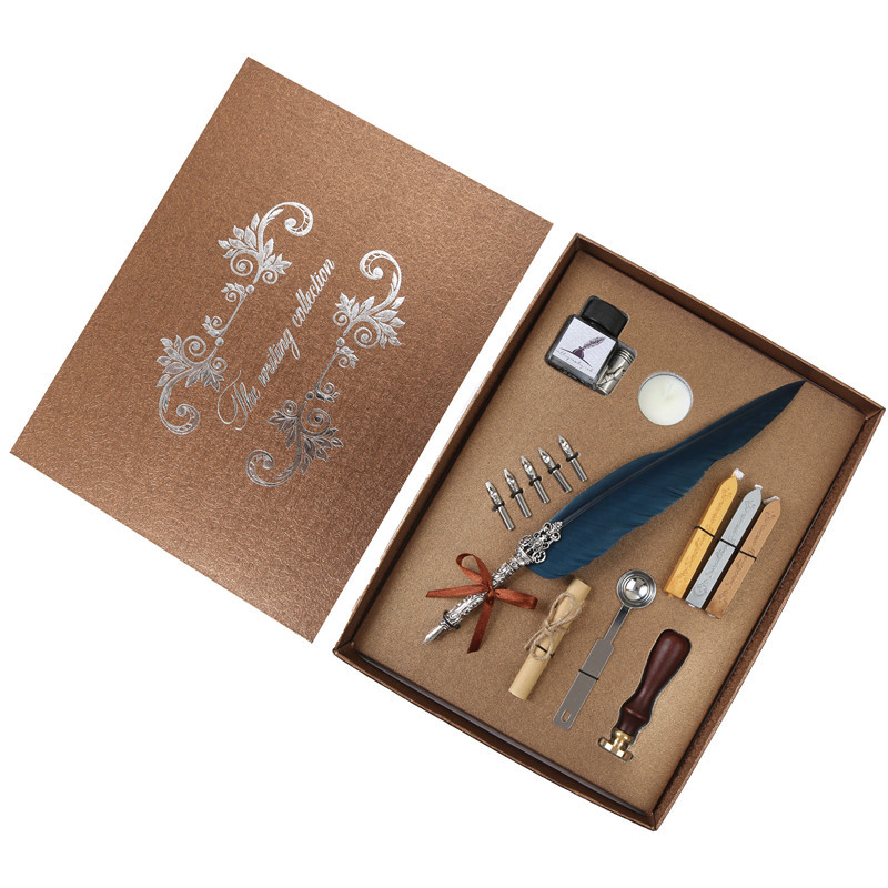 Beautiful feather pen Vintage writing ink set Stationery business office supplies gift box With 5 Nib wedding gift pen box