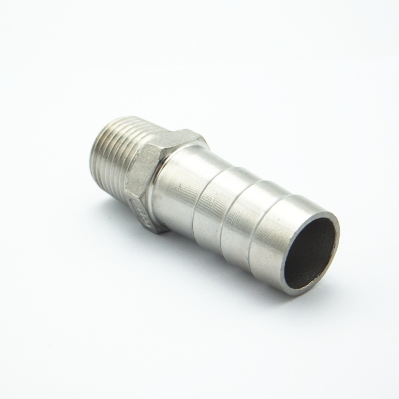 Stainless Steel Male Thread Pipe Fitting Barb Hose Tail Connector Head 6-12mm