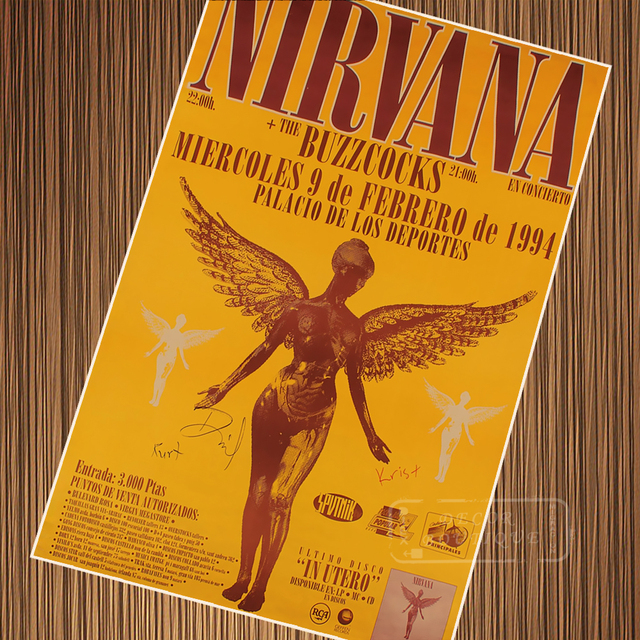 Vintage Nirvana Concert Posters Retro Poster Canvas Painting DIY Wall Paper Home Decor Gift