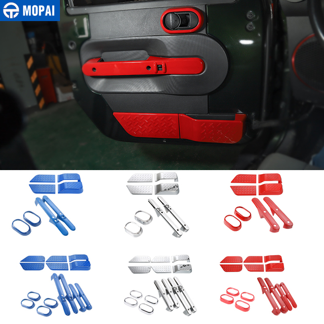 MOPAI ABS Car Interior Door Handle Decoration Ring Cover Stickers for Jeep Wrangler JK 2007-2010 Car Accessories Styling