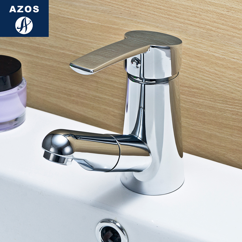 Modern Bathroom Faucet Pull Out Shower Head Nozzle Single Handle Swivel Spout Vessel Sink Mixer