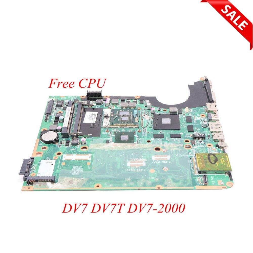 NOKOTION 580974-001 carte mère d'ordinateur portable pour HP pavilion DV7 DV7T DV7-2000 DA0UP6MB6F0 REV: F carte mère DDR3 cpu gratuit