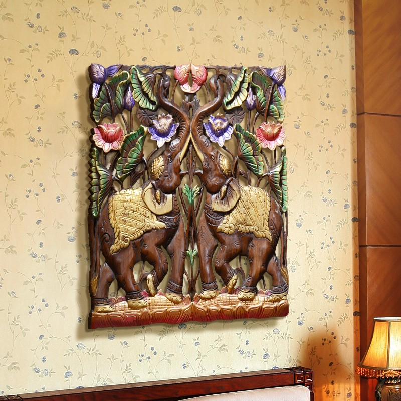 Elephant Thailand Wooden Carved Canvas Painting - Canvas Paintings Under $1,000