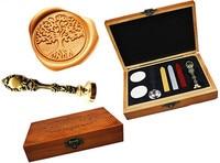 Vintage Tree Of Life Custom Luxury Wax Seal Sealing Stamp Brass Peacock Metal Handle Sticks Melting