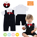 16 de Verão Do Bebê Infantil Meninos Gravata Vermelha de Manga Curta Macacão Romper Estilo Gentleman Macacão de Recém-nascidos Menino Roupas primeiro bithday
