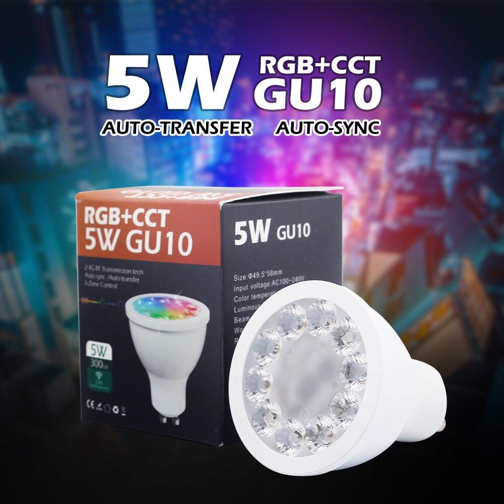 New AC110V 220V 2.4G RF 5W GU10 RGB+CCT LED Dimmable Wireless Led Bulb Led Spotlight Smart Led Lamp Lighting pair Mi light