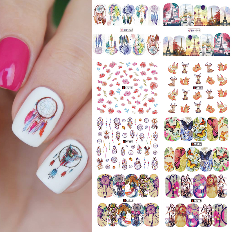 12 Patterns Nail Water Decal Dreamcatcher Transfer Sticker Butterfly Flower Animal Manicure Nail Art Decal Decoration Big Sheet