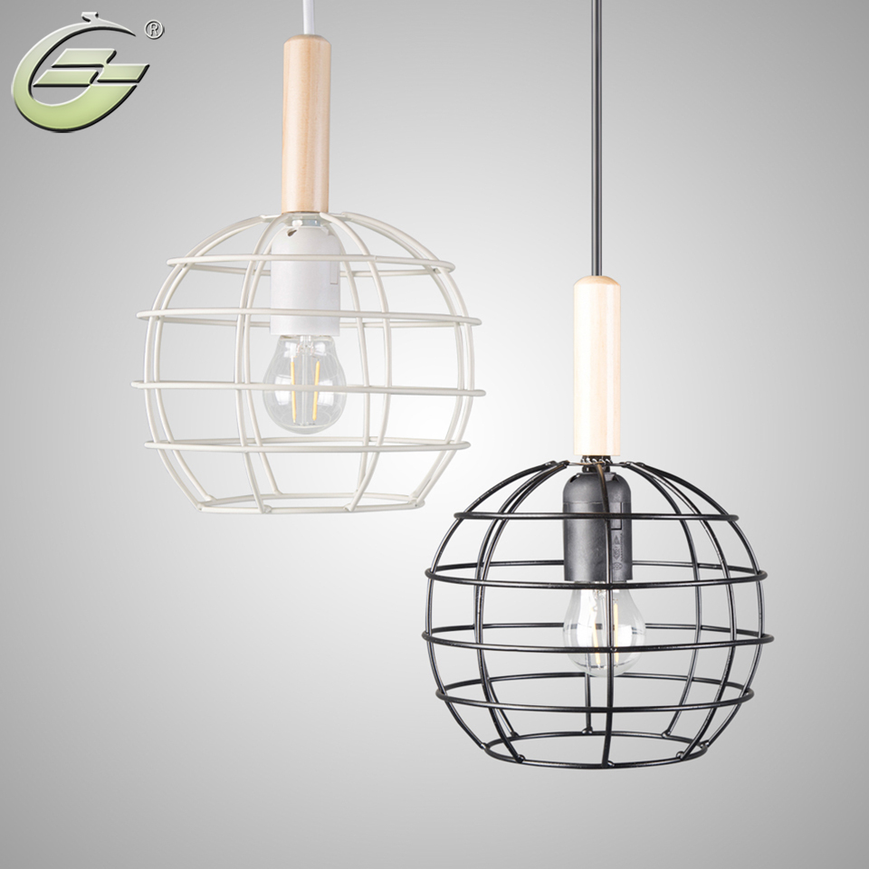Modern Pendant Light Industrial Metal Cage Iron Lightings Decoration Lighting Fixtures Black White Cord Pendant Lamp Lights 10pcs wholesale price d80mmxh300mm black iron long cage industrial pendant lamp vintage brass socket lighting fixtures for home