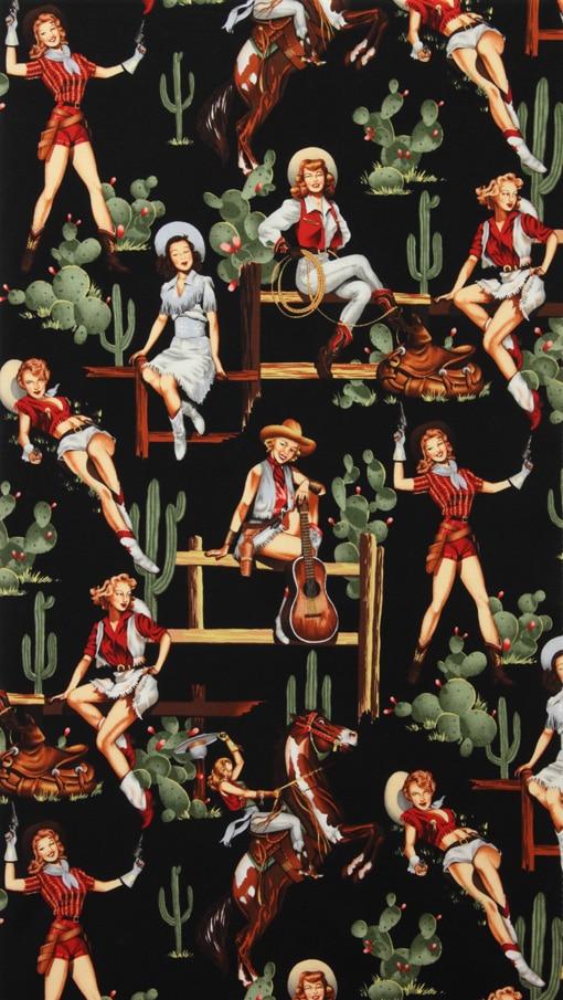 LEO & LIN Color restauración es sarga impresa popelina DIY artesanía tela negro Western Girl Patchwork Tissus 50 cm