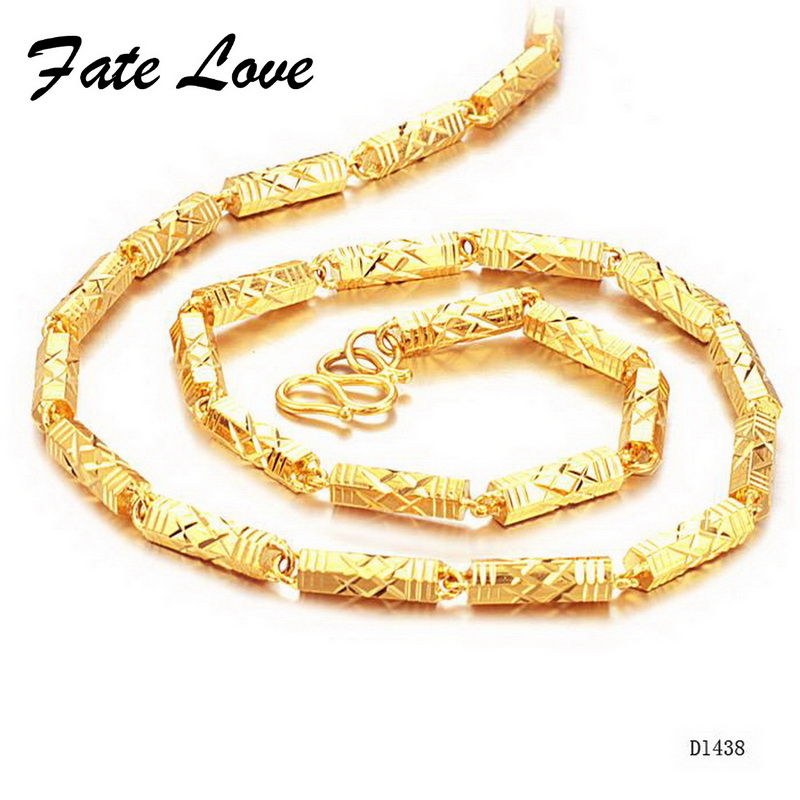 2cbeb8341a8d7 US $10.5 |Fate Love Brand New Men's Gold Chains Gold Color Necklace Thick  Bright Bead Link 55cm Length 5mm Width Jewellery Wholesale FL438-in Chain  ...