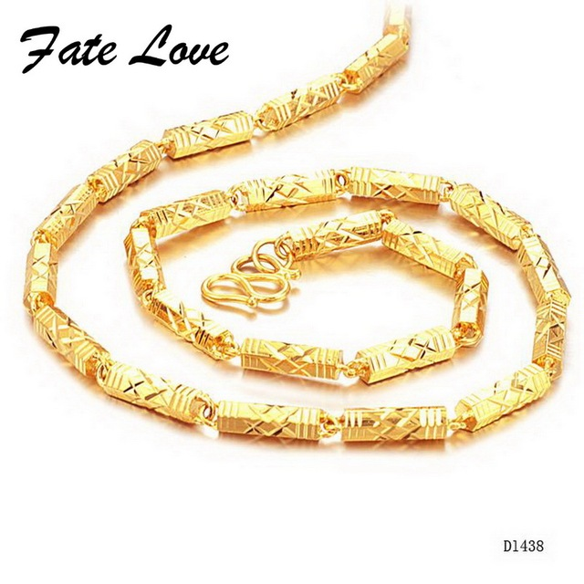 Fate Love Brand New Men's Gold Chains Gold Color Necklace Thick Bright Bead Link 55cm Length 5mm Width Jewellery Wholesale FL438