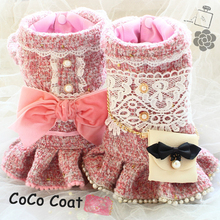 Free shipping handmade luxurious dog clothes pink C style tweed velvet bow pet o