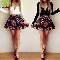 Elegant Winter Spring Women S Long Sleeve V Neck Floral Print Bodycon Casual Pleated Dresses Party