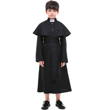 Umorden Halloween Easter Costumes Boy Boys Priest Father Costume Preacher Clergyman Cosplay Fantasia Robe for Kids Children