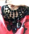 Exagerada preto jóia borla declaração colar mulheres acessórios do partido banquete de luxo pingentes de cristal colar de jóias colar