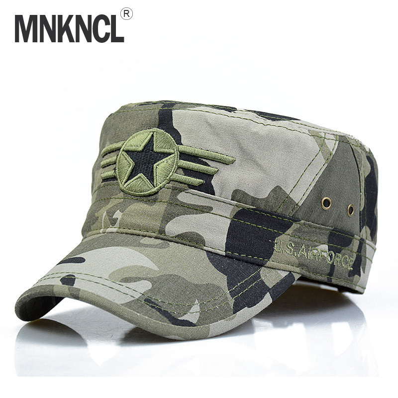 MNKNCL 2017 New Men Snapback Caps Vintage Army Hat Cadet Patrol Cap Adjustable Five Pointed Star Flat Top Camouflage Hats man woman vintage military washed cadet hat army plain flat cap