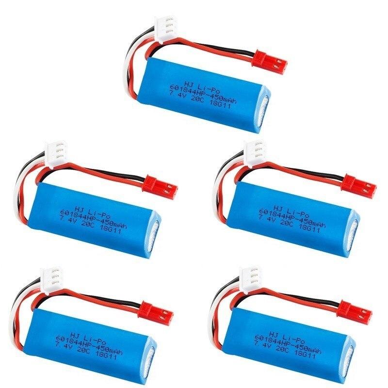 7.4V 450mAh 20C Lipo Battery For WLtoys K969 K979 K989 K999 P929 P939 RC Car Parts 2s 7.4v Battery 5pcs/lots