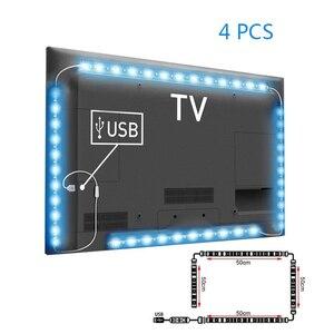Image 3 - 5 فولت 50 سنتيمتر 1 متر 2 متر LED قطاع ضوء كابل يو اس بي الطاقة مصباح مصلحة الارصاد الجوية 5050 RGB 24KEY RGB IR التحكم عن بعد مصباح الشريط للتلفزيون إضاءة خلفية
