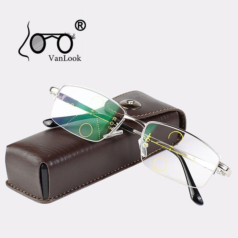 Multifocal progressivo óculos de leitura homem para computador vista clara ajustável bifocal + 1.0 1.5 2.0 2.5 3 3.5 4