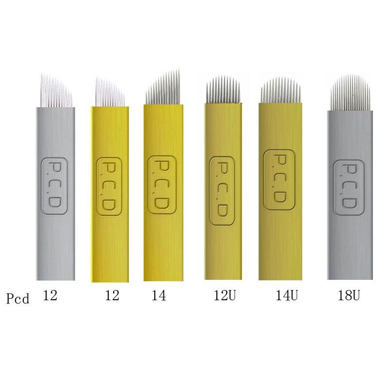 Permanent Microblading Needles Hard PCD 12/14/12u/14U/18U Pins Manual Eyebrow Tattoo Needles Brow Microblades