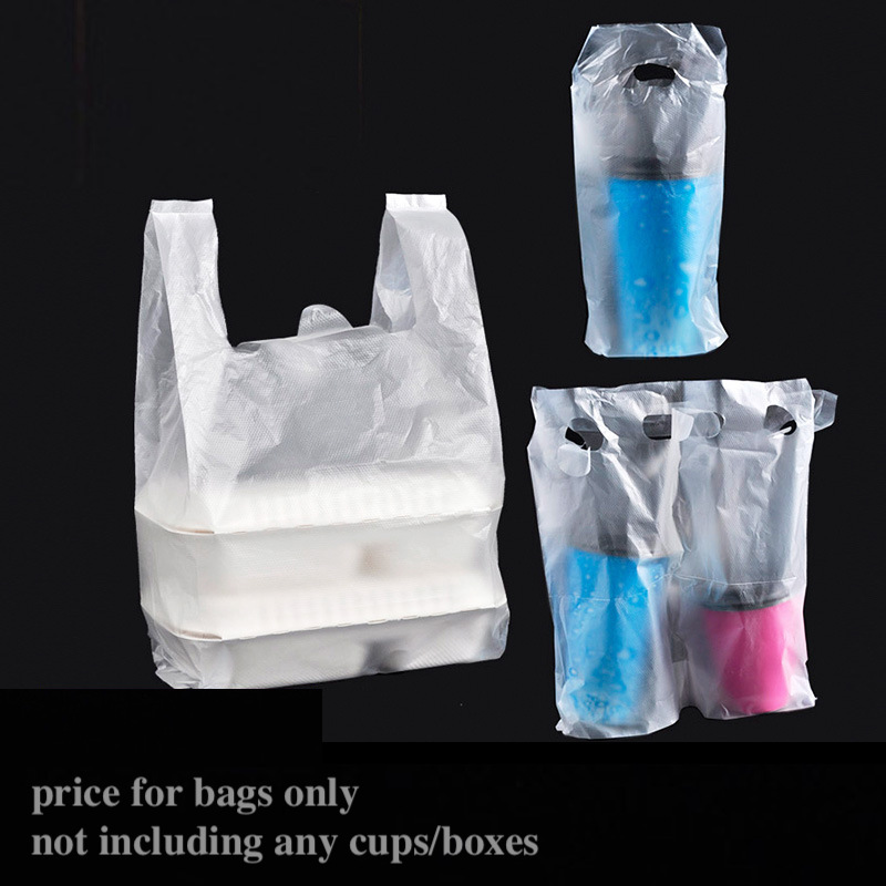 100x Beverage Package Bag Drink Coffee Tea Soup Meal Food Carryout Bag Take-out Carry-out Take-away Transparent