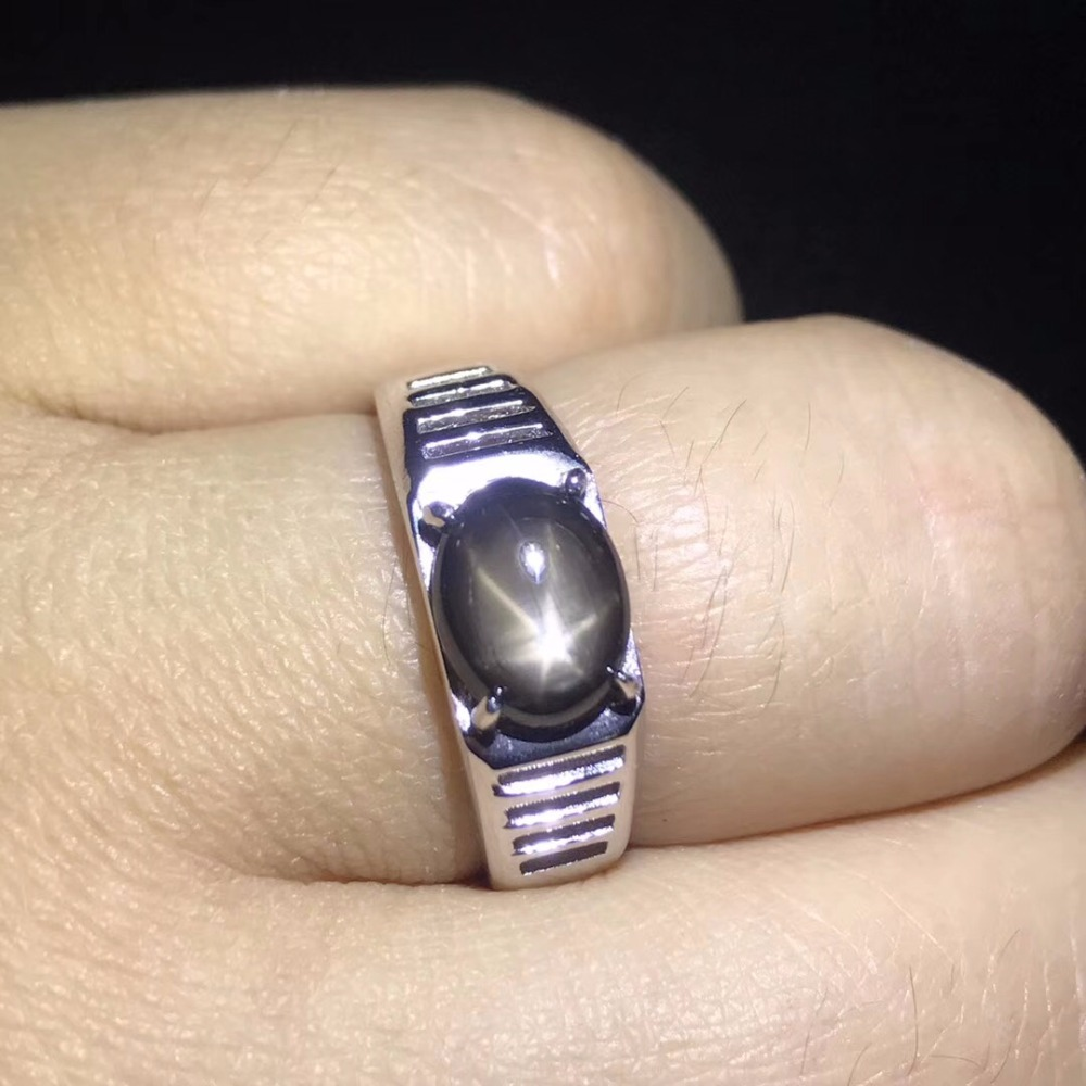 Natural starlight sapphire men's rings star line good design atmosphere 925 silver finger ring number can be customized