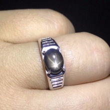 Natural starlight sapphire mens rings star line good design atmosphere 925 silver finger ring number can be customized