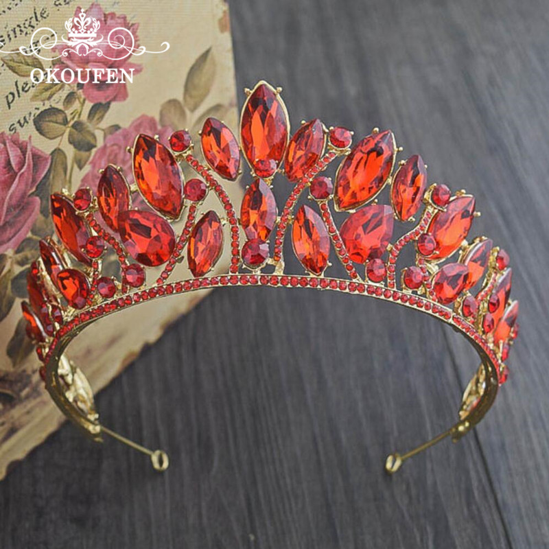 Luxurious Quinceanera Pageant Prom Crowns and Tiaras Gold Alloy Red Rhinestone Beads Women Hair Jewelry Headbands Hairbands