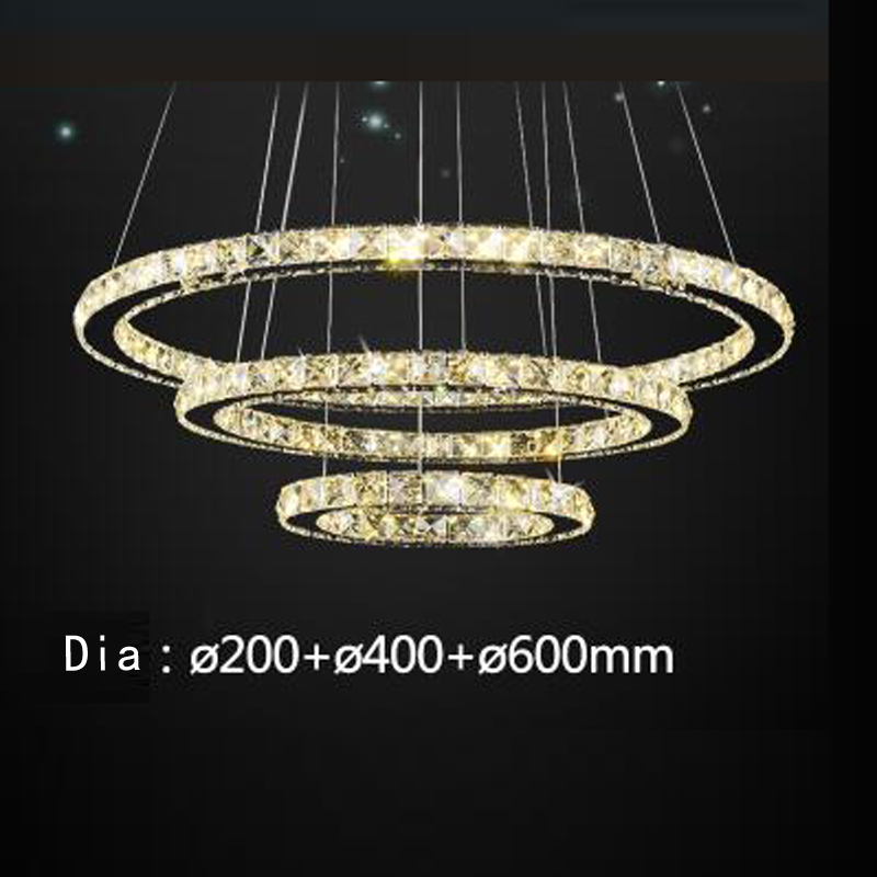 Ring LED Office Round Crystal Pendant Simple modern living room light Dining room three bedroom creative personality lamps - 2