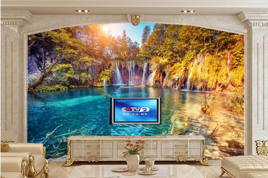 Custom beautiful forest waterfalls Lake under the sun papel de parede,living room sofa TV wall bedroom photo wallpaper murals large mural papel de parede european nostalgia abstract flower and bird wallpaper living room sofa tv wall bedroom 3d wallpaper