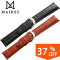 Maikes relógio acessórios 18 20 22 24mm pulseira preta Couro genuíno Cinta Faixa de Relógio de Prata Polido Fivela Fecho Para marca