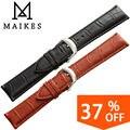 Maikes reloj accesorios 18 20 22 24mm negro pulsera Banda de Reloj Del Cuero genuino Correa de Hebilla de Cierre de Plata Pulida Para marca