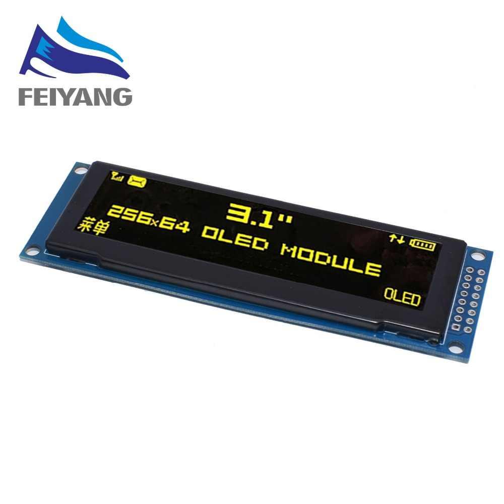 """شاشة عرض OLED حقيقية 3.12 """"256*64 25664 نقطة وحدة عرض LCD الرسومات شاشة LCM SSD1322 تحكم دعم SPI"""