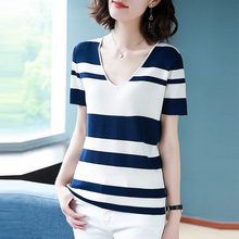 AOSSVIAO 2019 New Summer Women T Shirt Fashion Knitted Short Sleeves Tees Loose Top V-Neck Stripe Female Casual T-shirt