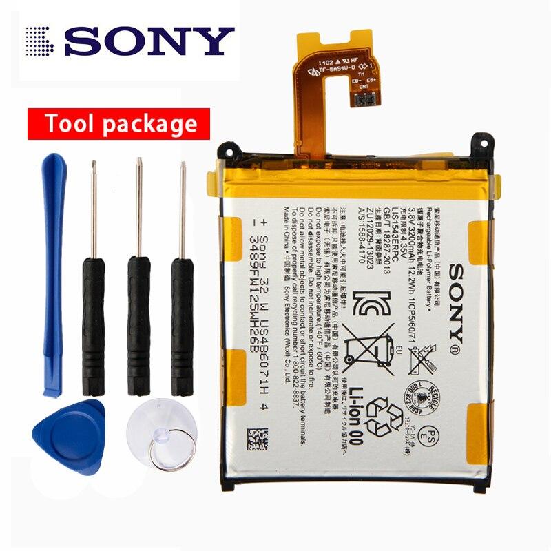 Original Sony de alta capacidad de la batería del teléfono para Sony Xperia Z2 L50T D6502 D6503 L50 L50W L50U LIS1543ERPC 3200 Mah