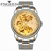 Automatic Mechanical WristWatch Men Swaterproof Business Stainless Steel Watches Woman Leather Strap Mechanical Hollow Clock