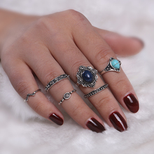 Jewelry 2017 New Hot 6 Pcs/Set Fashion Geometric Stone Flower Triangle Cute Finger Knuckle Ring Woman wholesale Price ON SALE