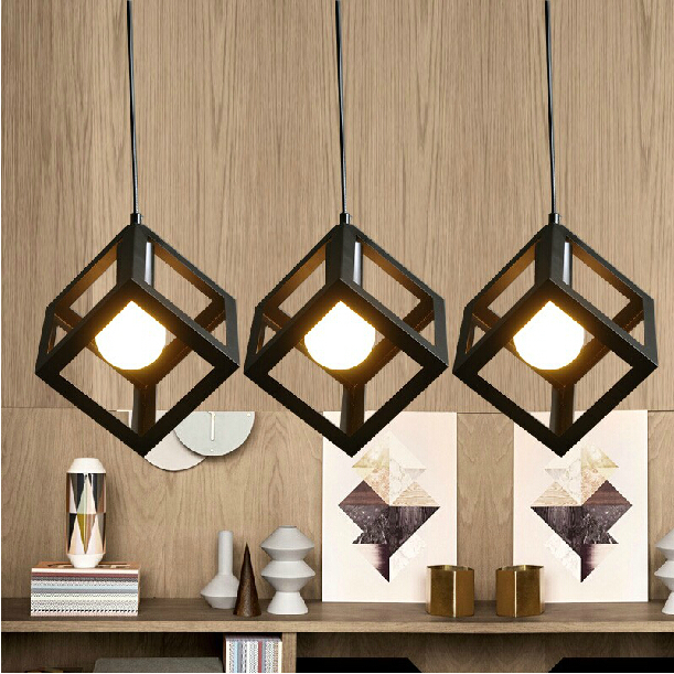 Modern iron square pendant lights for dining room home decoration lighting light fixture E27 bulb modern home decoration bird pendant lights for dining room bar bedroom cloth iron country style pendant lamp lighting fixture