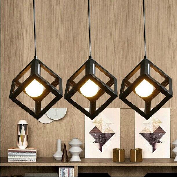 ᐅModerno cuadrado de hierro luces colgantes para comedor decoración ...