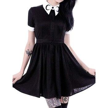 hot dress Fashion Women Moon Print Gothic Punk Slim Fit Black Button Down Short Sleeve  beach  Elegant  summer Fashion Party#7 1