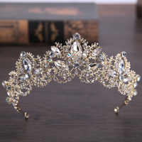 2018 New Fashion Baroque Luxury Crystal AB Bridal Crown Tiaras Light Gold Diadem Tiaras for Women Bride Wedding Hair Accessories