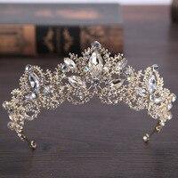 New Fashion Baroque Luxury Crystal AB Bridal Crown Tiaras Light Gold Diadem Tiaras For Women Bride