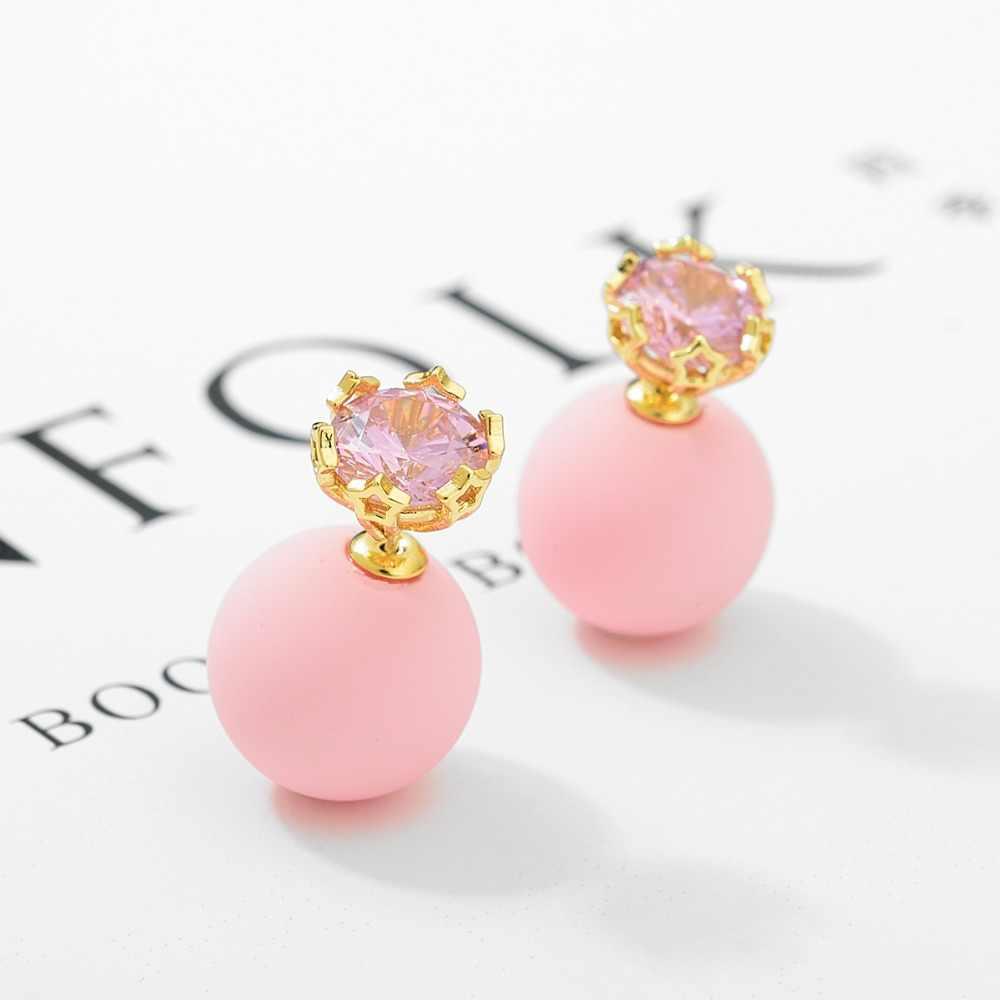 LUOTEEMI Cute Colorful Ball Design Stud Earring For Women Charming Cubic Zirconia Earring Fashion Jewellery Free Shipping 2018