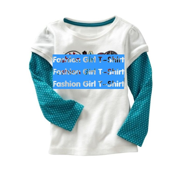 2016 Girls T-shirts Girl's Clothes Kids T Shirt Tops Long Sleeve T-shirt Children's Tee Shirts tops 100% Cotton