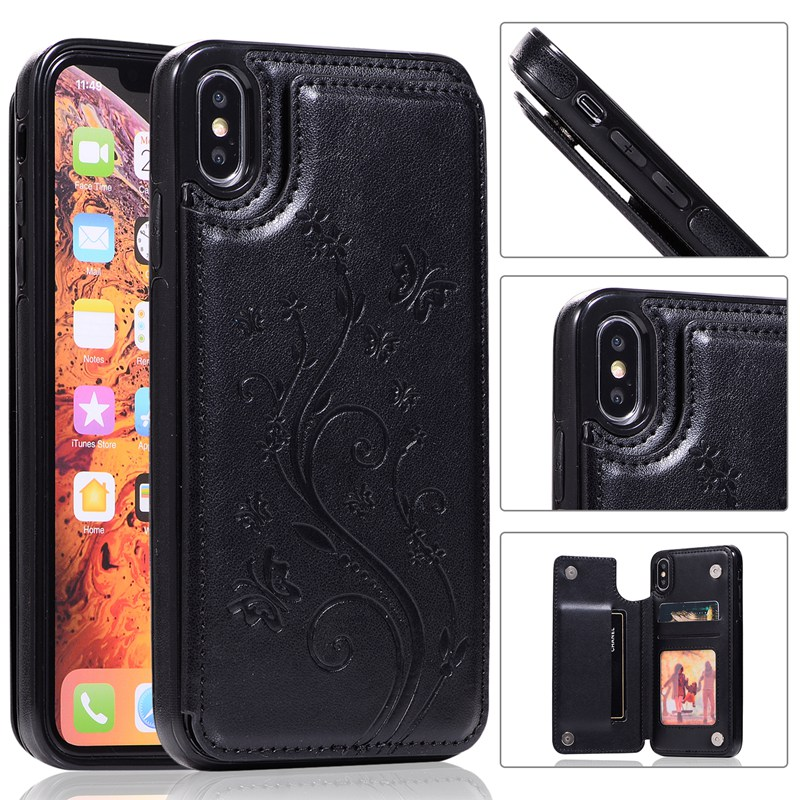 Case For iPhone 8 X XS MAX XR Flip Wallet Case with Card Holder Embossed Flower Premium PU Leather Cover for iphone 7 6 6S plus