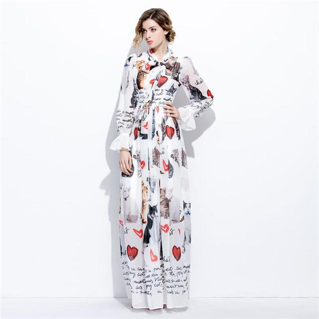 97c08786662c Women Spring Summer Dress 2019 High Quality Runway Dresses Long Sleeve Cat  Printed Maxi dresses Casual Dress Vestidos SAD584